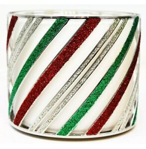 Bath & Body Works Candle Holder Large 3 Wick CHRISTMAS HOLIDAY RED GREEN STRIPES