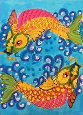 "ACEO-ORIGINAL painting G. Liedtke - Fantasy -""Art Deco Fish"" water pond Koi"