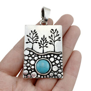 2pcs Antique Silver Rectangle Tree & Faux Turquoise Charms Pendants for Jewelry