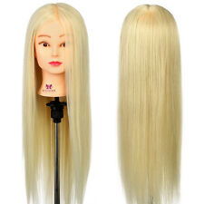 """26"""" Inch 30% Real Hair Training Head Mannequin Styling Hairdressing Doll + Clamp"""