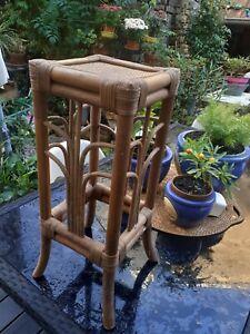 Ancienne Sellette Rotin Bambou Cannee Deco Vintage Meubles
