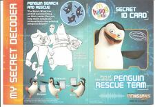 MCDONALDS Pinguini di Madagascar Flyer del Regno Unito Happy Meal