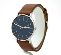 Men's Skagen Signature Blue Dial Brown Leather Watch SKW6355, New