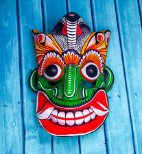 """Hand Carved Wooden Wall Hanging Home Decor Cultural Mask 8"""" (For Good Vibes!)"""