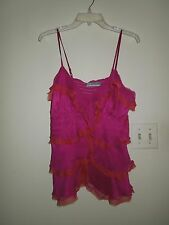 NWOT Nordstrom NU Collection Magenta/Coral 100% Silk Faux Layered Top L USA