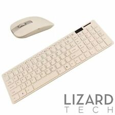White Slim Wireless 2.4GHz USB Keyboard and Mouse Combo Set for Smart TV