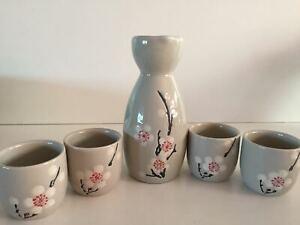 Japanese Sake Set with 4 Cups - SK011 Grey