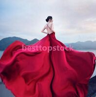 Red Spaghetti Strap Backless Train Evening Dresses Prom Gown Wedding dress long