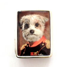 ENAMEL VICTORIAN STYLE ROYAL EMPEROR DOG PILL BOX 925 SOLID STERLING SILVER