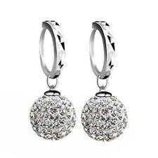 Schamballa Ohrringe 10 mm Kristall Weiß Echt 925 Silber Strass Geschenk O1057-1S