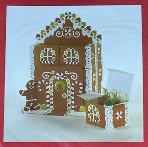 CHRISTMAS GINGERBREAD HOUSE MEN CENTERPIECE w 12 FAVOR BOXES Xmas Treat Gifts