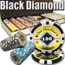 New 500 Black Diamond 14g Clay Poker Chips Set with Aluminum Case - Pick Chips!