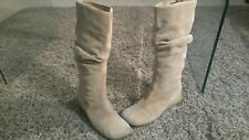 FAITH SMART SUEDE WEDGED BOOTS,WIDER CALF FIT, RUCHED DETAIL SIZE 7