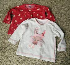 Baby Girl 3-6 Month Next Long Sleeve Tops Red Polka Dot Pink & Grey Rabbit