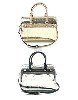 Michael Kors Kara Embossed Metallic Leather Large Duffle Satchel Handbag Bag