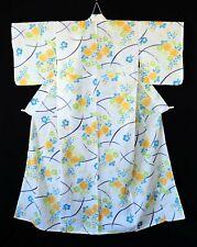 Japanese Kimono Cotton Yukata Yellow Floral T198