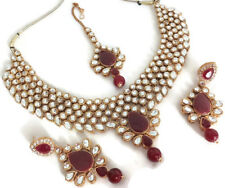 New Indian Gold Plated Fashion Maroon Kundan Bridal Necklace Earring Jewelry Set