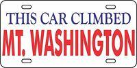 Washington Aluminum License Plate Car Tag Auto Mountain This Car Climbed Mt