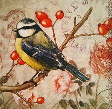 4x Decoupage paper napkins bird .4 Servilletas de papel decoupage pájaro y reloj