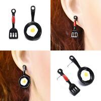Women Lady Asymmetric Stud Earrings Funny Jewelry Enamel Fried Egg Earrings Gift
