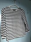A.P.C. navy and white stripped top in size S