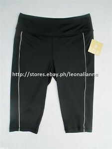 60% OFF!AUTH MIX BLACK PIPED WORKOUT GYM CAPRI LEGGINGS SMALL BNWT $19+