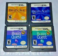 Brain Age 1 + 2, Brain Quest 3 & 4 , 5 & 6 Grades - Nintendo DS Lite 2ds 3ds Lot
