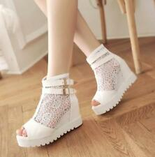 Womens White Wedge Buckle Shoes Open Toe High Heels Lace Clubwear Casual Sz