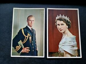 The Queen And Prince Philip, Two Vintage 1950s Postcards Colour Showing The two
