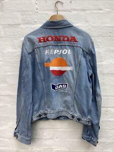 GAS Men's Embroidered Honda Patches Blue Denim Jacket Size Medium Large