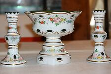 Czech Bohemian 3 Piece Cased Glass white cut green Compote & Two Candle Holders