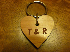 Heart shaped Personalised wooden keyring: Wedding Anniversary/Valentines Day