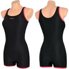 Reebok Damen Badeanzug mit Bein Schimmanzug Körbchen BH [XS S M L] schwarz/pink