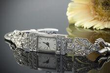 Schmuck Art Deco Armbanduhr Damen Uhr mit Diamanten in Platin & 585er Weißgold