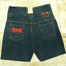 COOGI AUSTRALIA 69 Black Denim Jeans Men's 46x34 Silver Buttons Red Embroidery
