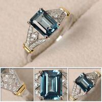 Elegante Damen 925er Silber Eheringe Smaragdschliff Geburtssteine Ring sona