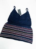 New Look Navy Blue Stripe Knitted Cami Top Size M