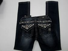 NWT Miss Me Junior YK5755SG Girls Jeans Skinny Dark Blue with Crystals Sz 7x25