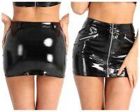 Sexy Women PVC Leather Wet Look Pencil Dress Tight Hip Mini Short Skirt Clubwear