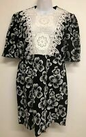 NWT Zara Dress ZARA Combined Floral Lace Bib Front Dress Size XS $69 2731 COTTON