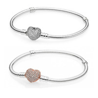 Silver/Gold stones Moments Pave Heart Clasp Starter snake chain Charm Bracelet