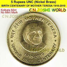 BIRTH CENTENARY OF MOTHER TERESA 1910-2010 Nickel-Brass 5 Rupees (K) UNC 1 Coin