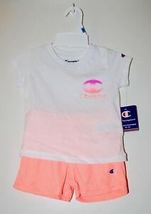 NWT Champion Infant Girls White & Peach Graphic Logo SS 2pc Short Set sz 24M