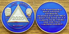NEW Alcoholics Anonymous Blue Tri-Plated Masked Bill & Bob 2020 Medallion