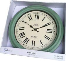 "UNION STATION 14""  Round Turquoise Wall Clock Stylish Home Decor, NEW"