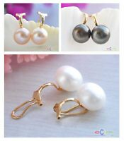 X0082 12MM ROUND FRESHWATER PEARL CLIP EARRING 14K