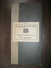 1903 CHICAGO BURLINGTON & QUINCY R.R. Co. FREIGHT CONDUCTOR'S CAR REPORTS FOLDER