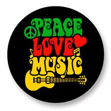 Pin Button Badge Ø38mm Peace Love Music Paix Amour Musique