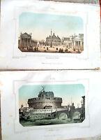 1830 LOTTO LITOGRAFIE DIPINTE VEDUTE DI ROMA CASTEL SANT'ANGELO PIAZZA S. PIETRO