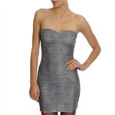 Lipsy Grey Ruched Bodycon Bandeau Dress 12